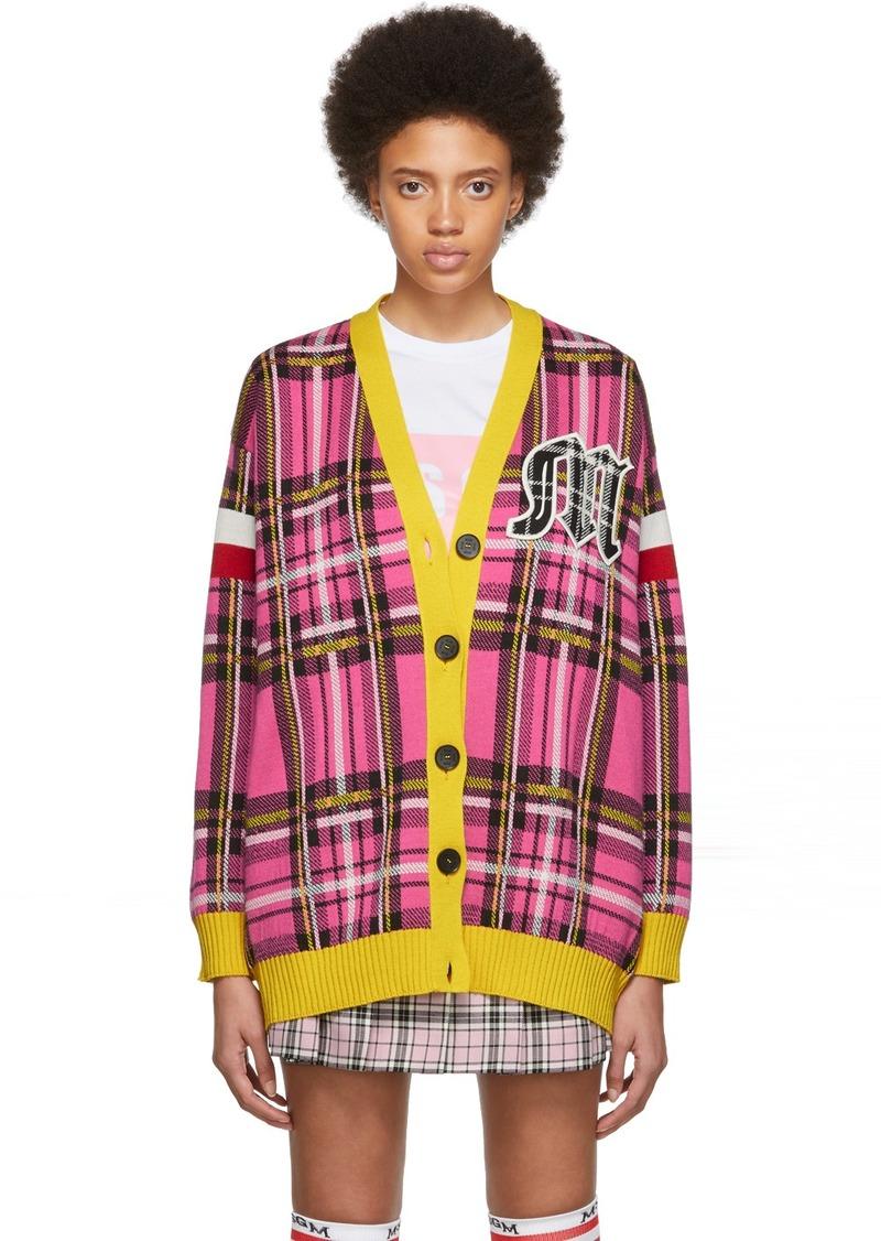 MSGM SSENSE Exclusive Pink & Yellow Check Varsity Cardigan