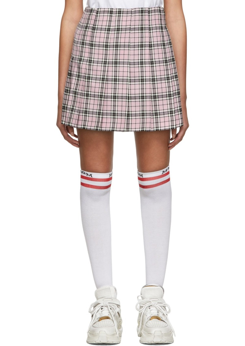 MSGM SSENSE Exclusive Pink Check Pleated Miniskirt