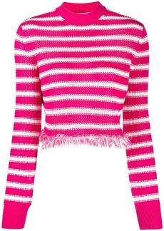 MSGM striped fringed hem jumper