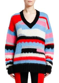 MSGM V-Neck Mohair-Blend Pullover Sweater