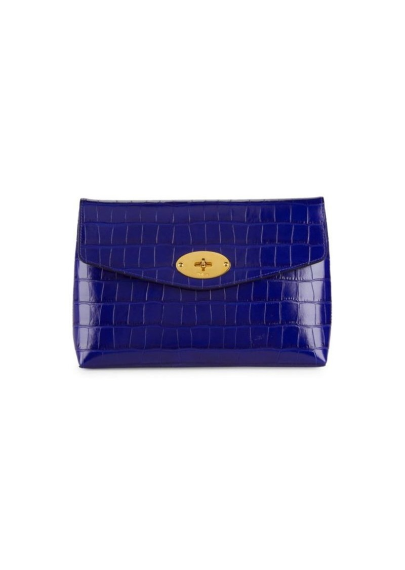 Mulberry Croc-Embossed Leather Pouch