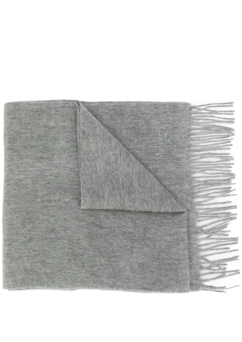Mulberry fringed edge scarf