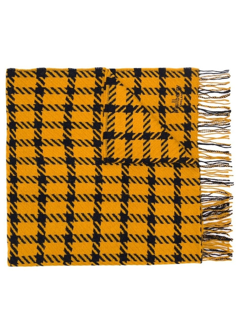 Mulberry houndstooth fringed shawl
