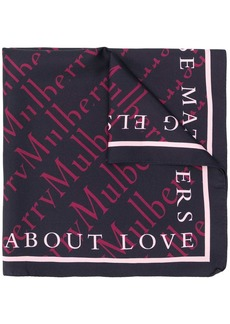 Mulberry logo print scarf