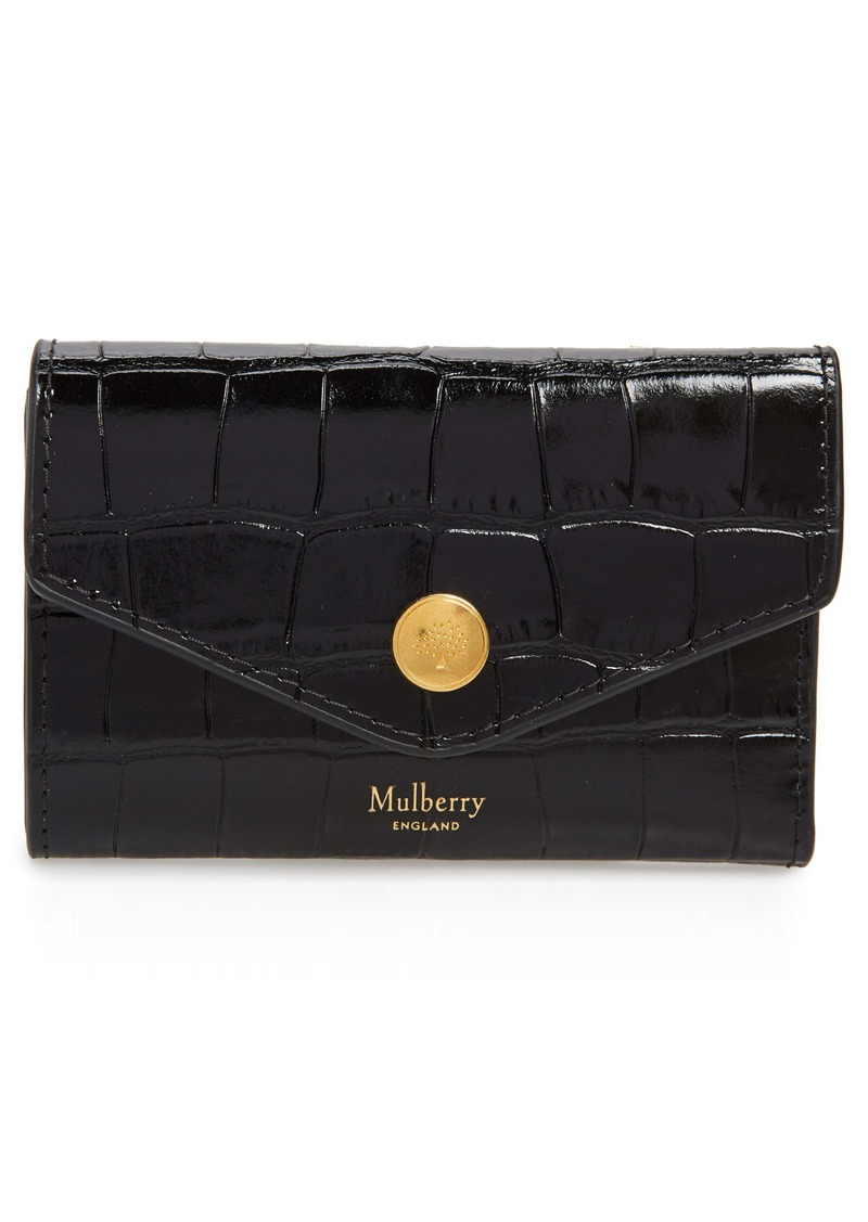 Mulberry Bifold Croc Embossed Leather Card Case