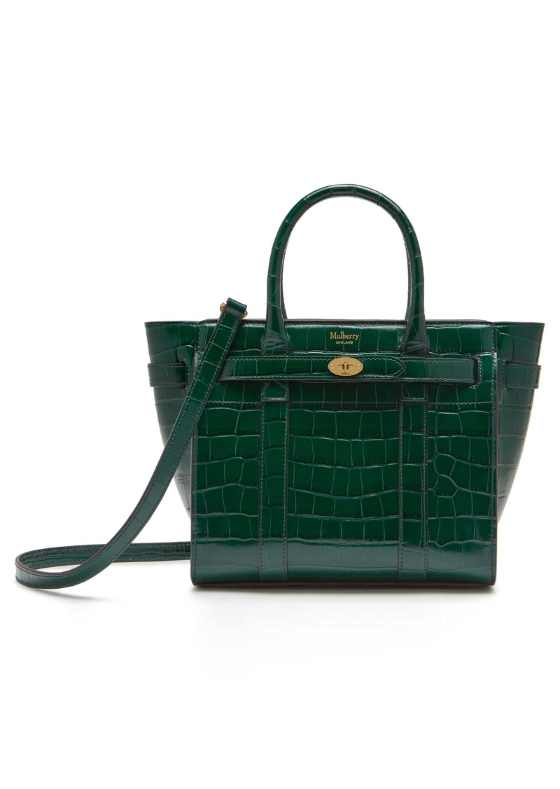 Mulberry Mini Zipped Bayswater Croc Embossed Leather Satchel