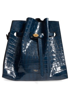Mulberry Tyndale Croc Embossed Calfskin Leather Bucket Bag