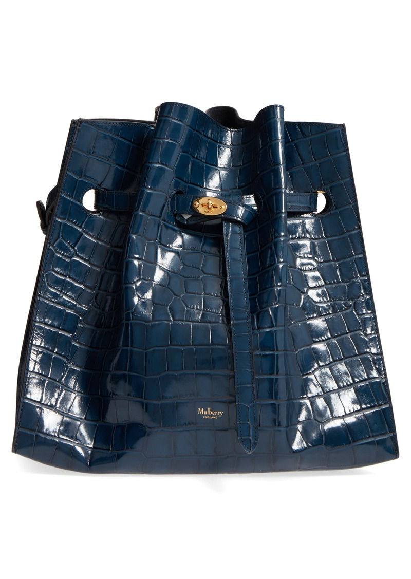 ... spain mulberry tyndale croc embossed calfskin leather bucket bag dd35a  2abbd 9778c5701495b