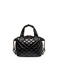 MZ Wallace Micro Sutton Patent Quilted Nylon Satchel