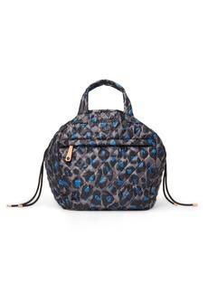 MZ Wallace Blue Leopard Metro Drawstring Bucket Bag
