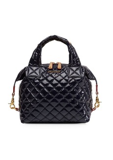 MZ Wallace Small Sutton Lacquered Quilted Leather Satchel