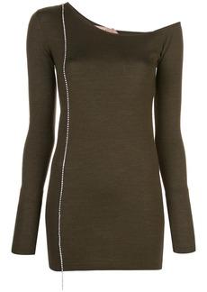 Nº21 asymmetric neckline knit top