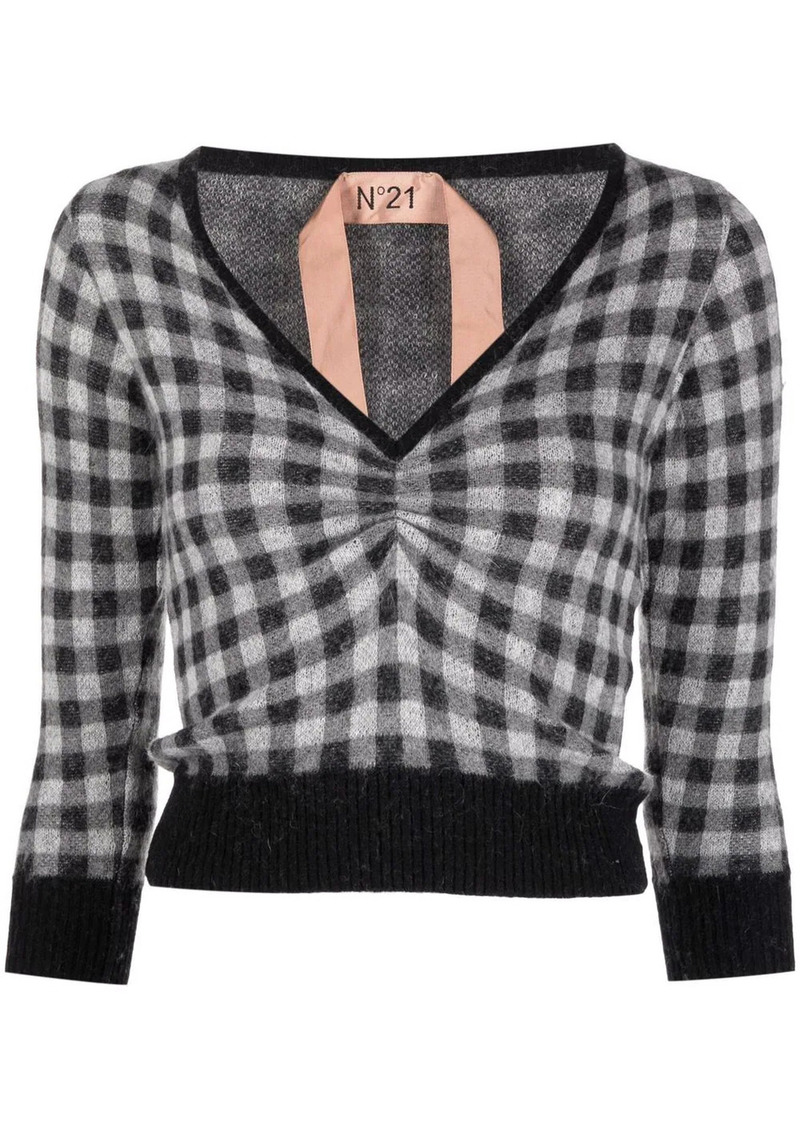 cropped check jumper