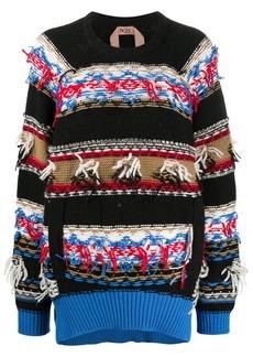 Nº21 crystal-embellished jacquard-pattern jumper