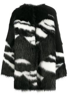 Nº21 Eco Zebra-Stripe Fur Coat