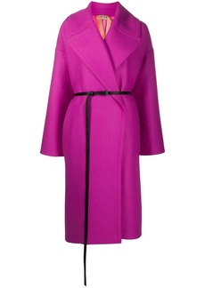 Nº21 exaggerated-lapel belted wrap coat