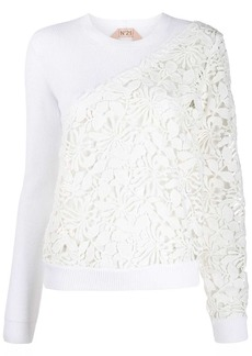 Nº21 floral crochet panels knitted top