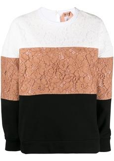 Nº21 lace colour-block sweatshirt