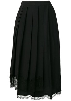 Nº21 lace hem pleated skirt