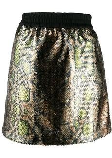 Nº21 Leopard sequin mini skirt