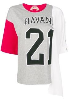 Nº21 oversized varsity print T-shirt