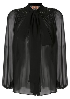 Nº21 sheer effect pussy bow blouse
