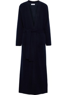 Naadam Woman Belted Ribbed-knit And Cotton And Cashmere-blend Fleece Cardigan Navy