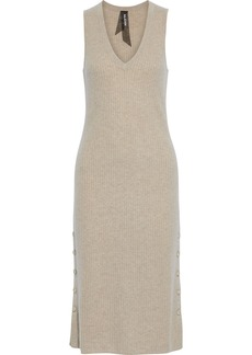 Naadam Woman Button-detailed Ribbed Cashmere Midi Dress Neutral
