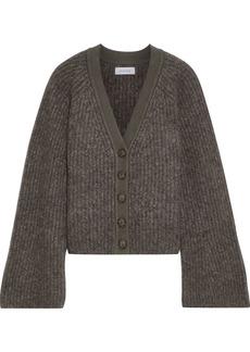 Naadam Woman Cropped Mélange Brushed Ribbed-knit Cardigan Dark Gray