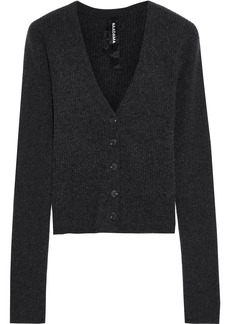 Naadam Woman Cropped Ribbed Cashmere Cardigan Charcoal