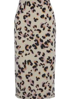 Naadam Woman Leopard-print Cashmere Midi Skirt Animal Print