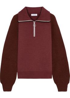 Naadam Woman Ribbed Knit-paneled Cotton And Cashmere-blend Fleece Sweatshirt Claret