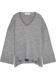 Naadam Woman Zip-detailed Marled Wool And Cashmere-blend Sweater Lilac