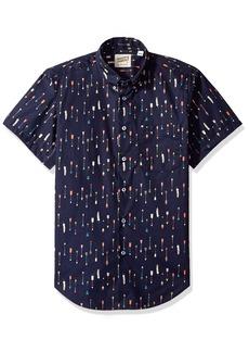 Naked & Famous Denim Men's Arrows Print Short Sleeve Button Down Shirt
