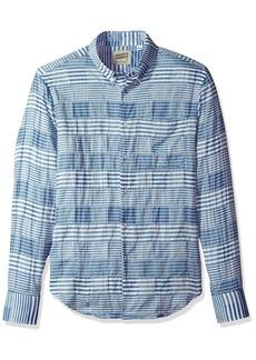 Naked & Famous Denim Men's Striped Windowpane Long Sleeve Button Down Shirt