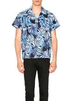 Naked & Famous Denim Tropical Leaves Aloha Shirt