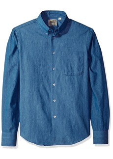 Naked & Famous  Men's Lightweight Faded  Long Sleeve Button Down Shirt