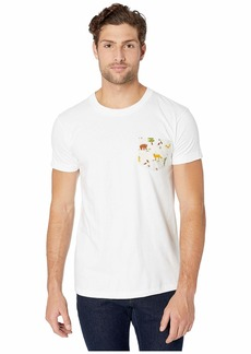Naked & Famous Pocket Tee - White/Creatures Of The Forest