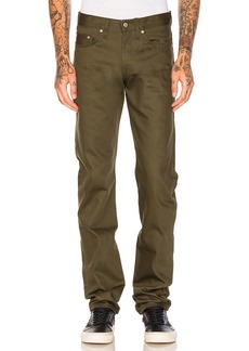 Naked & Famous Weird Guy Khaki Green Selvedge Chino