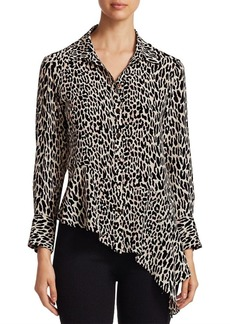 Nanette Lepore Asymmetric Silk Print Henchman Blouse