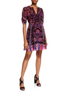 Nanette Lepore Babushka Printed V-Neck Elbow-Sleeve Dress