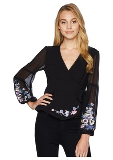 Nanette Lepore Balance Embroidered and Embellished Wrap Top