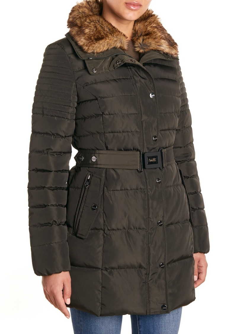 Nanette Lepore Belted Faux Fur Collar Puffer Jacket