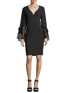 Nanette Lepore Betty V-Neck Lace Sleeve Sheath Cocktail Dress