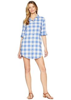 Nanette Lepore Capri Gingham Shirtdress Cover-Up