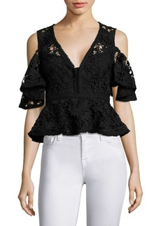 Nanette Lepore Cocktail Cold-Shoulder Cropped Top