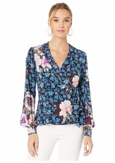 Nanette Lepore Collage Floral Silk Wrap Top