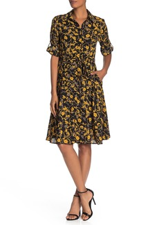 Nanette Lepore Collared 3/4 Sleeve Button Dress