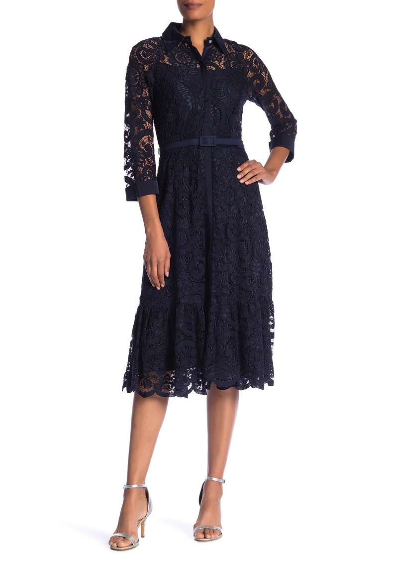 Nanette Lepore Collared Floral Lace Midi Dress