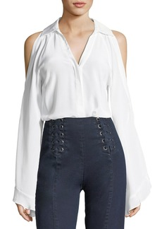 Nanette Lepore Cordoba Silk Cold-Shoulder Blouse